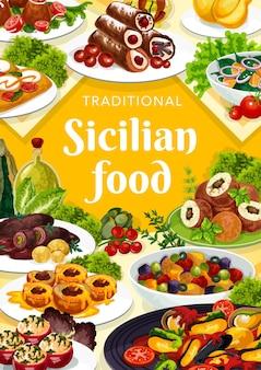 Sizilianisches lebensmittelillustrationsdesign