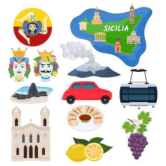 Sizilien-vektorsizilianische inselkarte mit kathedralenarchitektur-kunstkultur und traditionellem italienischem lebensmittelillustrations-tourismussatz
