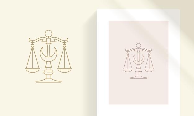 Skalen mit halbmond-silhouette lineare illustration