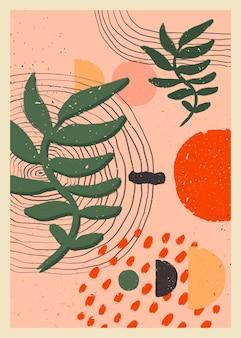 Skandinavische abstrakte organische komposition in pfirsichrosa farben für die wanddekoration