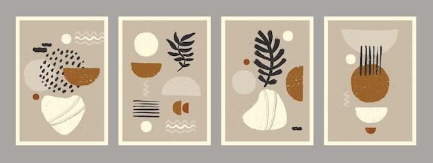 Skandinavische abstrakte organische kompositionen in natürlichen erdfarben für die wanddekoration