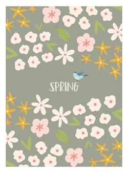 Skandinavische boho-frühlingskarte mit frühlingsblumen, blühenden zweigen, vögeln und schmetterlingen. gut für poster, karten, einladungen, flyer, banner, plakate, broschüren. vektor-illustration.