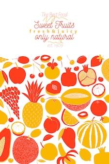 Skandinavische hand gezeichnete frucht