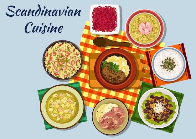 Skandinavische küche mit norwegischem rindfleischeintopf, pilzcremesuppe, hechtrogensandwich und gekochtem lamm