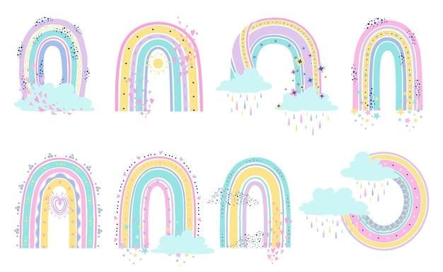 Skandinavische regenbögen mit herz und sternen in pastellfarben für kindliche muster
