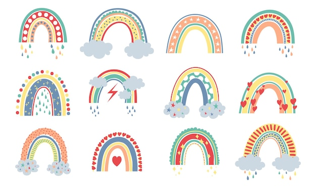 Skandinavische regenbogen-cartoon-regenbögen mit wolkenblumen und sternen in pastellfarben