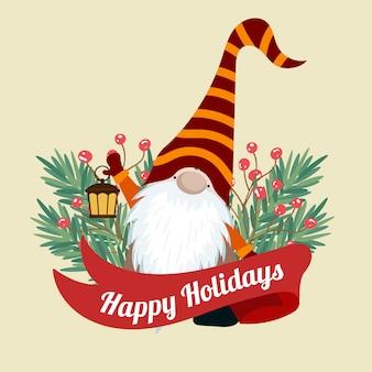 Skandinavische weihnachtskarte mit baum-braches und gnome