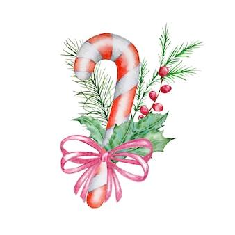 Skandinavische weihnachtskomposition des aquarells. hand gezeichnete winterdekoration. bouquet von fichtensüßigkeiten, stechpalme, verziert mit einer rosa schleife.