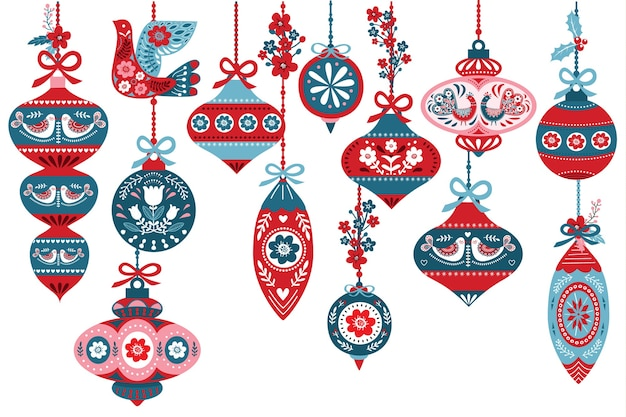 Skandinavische weihnachtsornamentelemente