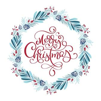Skandinavischer kalligraphischer weinlesetext der frohen weihnachten