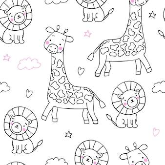 Skandinavischer nahtloser druck für babys und babyprodukte. schwarze strichzeichnung und rosa wangen. süße jungtiere giraffe und löwe