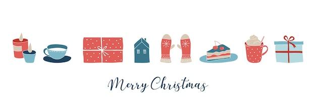 Skandinavischer stil, einfache und stilvolle frohe weihnachten grußkarte mit handgezeichneten elementen
