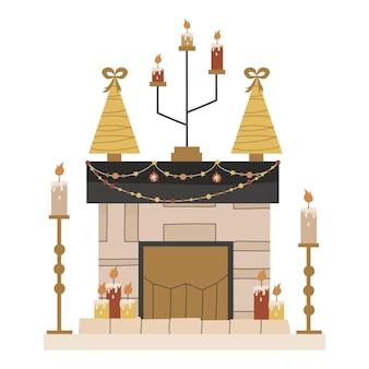 Skandinavischer weihnachtskamin mit kerzen und tannen einzeln. festliche gemütliche feuerstelle mit girlanden und kerzenständern. vektorillustration in einem flachen stil. gemütliche winterferienzeit.
