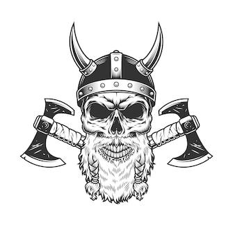 Skandinavischer wikingerschädel im gehörnten helm