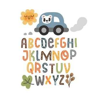 Skandinavisches alphabet, nahtloses muster stellte süße fantasie ein und bunte sammlung der cliparts isoliertes element