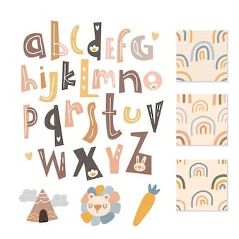 Skandinavisches alphabet und nahtloses musterset niedlich