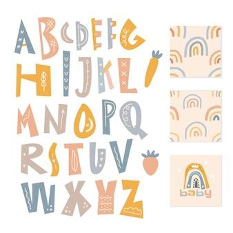 Skandinavisches alphabet und nahtloses musterset