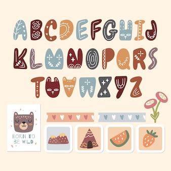 Skandinavisches alphabet und niedliche sammlung