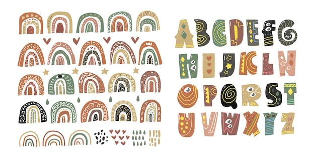 Skandinavisches alphabet und regenbogen-set niedliches fantasy-clipart schwarz weiß sammlung isoliertes element