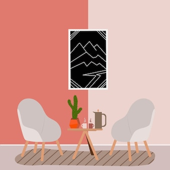 Skandinavisches interieur mit bequemen möbeln und wohnkultur
