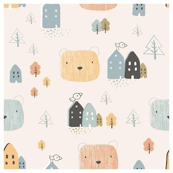Skandinavisches nahtloses muster mit niedlichen bärenhausbäumen und landschaftselementen