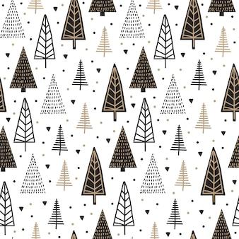 Skandinavisches nahtloses muster mit weihnachtsbaumweinlese