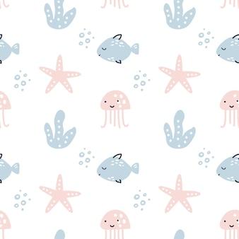 Skandinavisches nahtloses vektormuster mit fischen, seesternen und punkten. summer vector trendiges design perfekt für drucke, flyer, banner, stoffe, einladungen.
