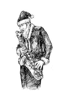 Skatch of santa spielt saxophon hand draw