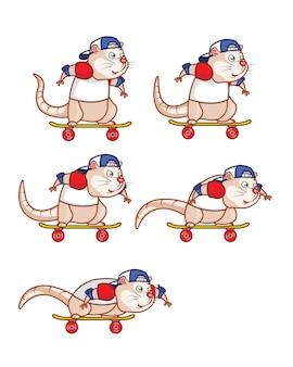 Skate board ratten-karikatur-spiel sprite