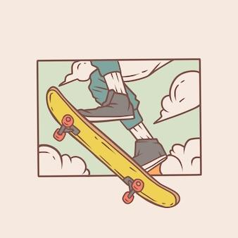 Skate in die luft springen premium-aufkleber