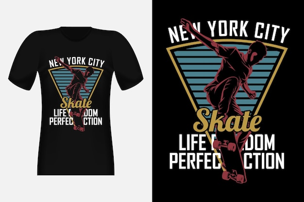 Skate life freedom perfekte action silhouette vintage t-shirt design