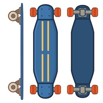 Skateboard aktiver lebensstil. langes brett, rotes kurzes brett. extreme straßensportjugend. blaues langes brett.