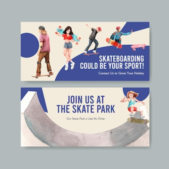Skateboard design konzept banner aquarell vektor-illustration.