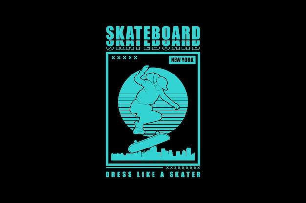 Skateboard, design-silhouette im urbanen stil.