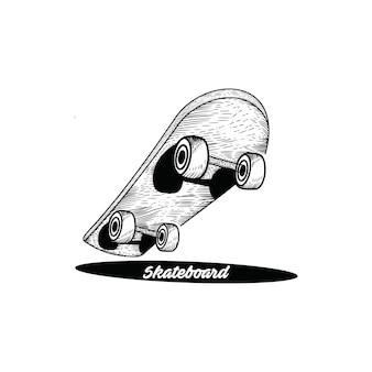 Skateboard hand gezeichnet