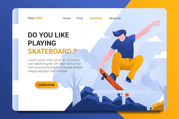 Skateboard landing page hintergrund spielen.