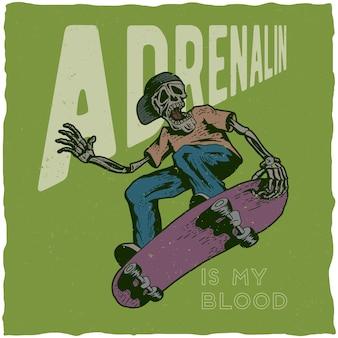 Skateboard-t-shirt-design mit illustration des skeletts, das skateboard spielt.