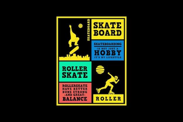 Skateboard und rollschuh, silhouette im urbanen design