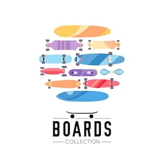 Skateboard- und skateboardersammlungshintergrund mit den skateboards gelegen auf einem kreis