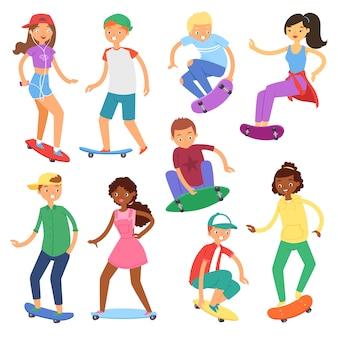 Skateboarder auf skateboardvektor-skateboarding-jungen- oder -mädchencharakteren oder teenager-skater, die an bord in skatepark-illustrationssatz von leuten springen, die lokalisiert auf weißem hintergrund laufen