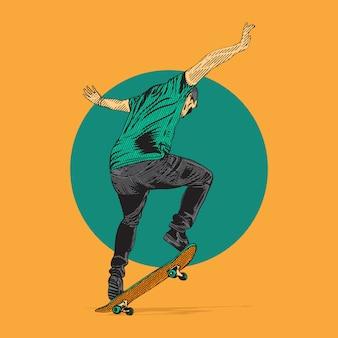 Skateboarder macht sprungtrick. illustrationshandzeichnung mit gravurstil