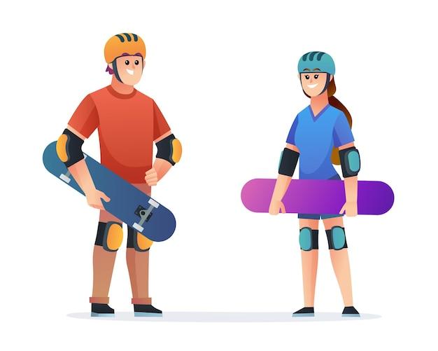 Skateboarder-zeichensatz für jungen und mädchen