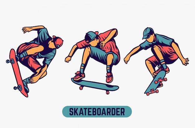 Skateboardfahrer farbiger illustrationssatz