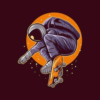 Skateboarding des astronautenspringens auf raumillustrationsdesign
