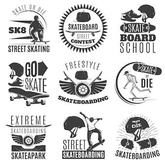 Skateboarding-emblem oder etikettensatz mit beschreibungen der freestyle-skateboarding-vektorillustration des skateboard- oder die-skateboard-straßenwettbewerbs