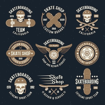 Skateboarding embleme in farbe