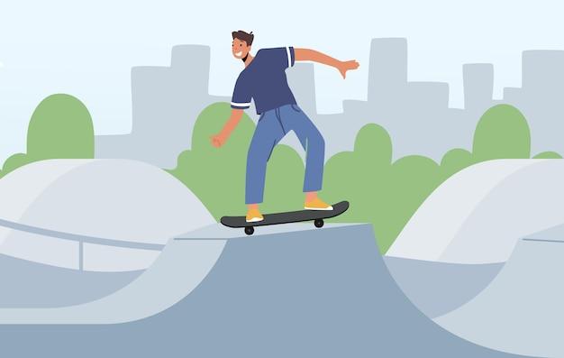 Skateboarding extremsport, teenager im skatepark oder rollerdrome führen skateboard jumping stunt auf der quarterpipe-rampe durch