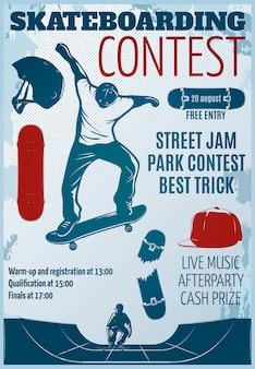 Skateboarding farbiges plakat mit beschreibungen der besten trickvektorillustration des straßenmarmeladenparkwettbewerbs