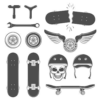 Skateboarding icon set