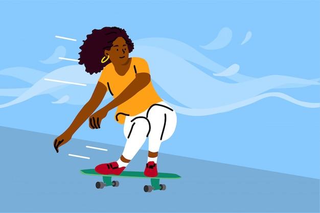 Skateboarding, sport, erholung, sommerkonzept Premium Vektoren